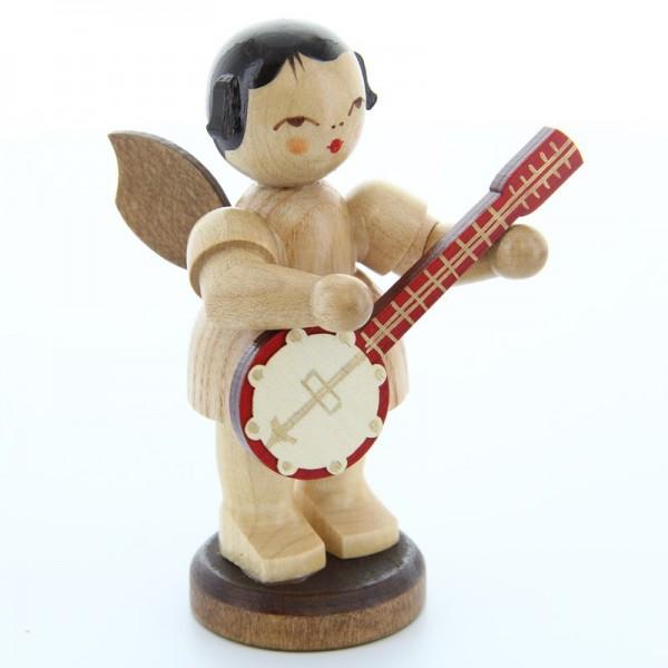 Uhlig Engel groß stehend mit Banjo, natur, handbemalt