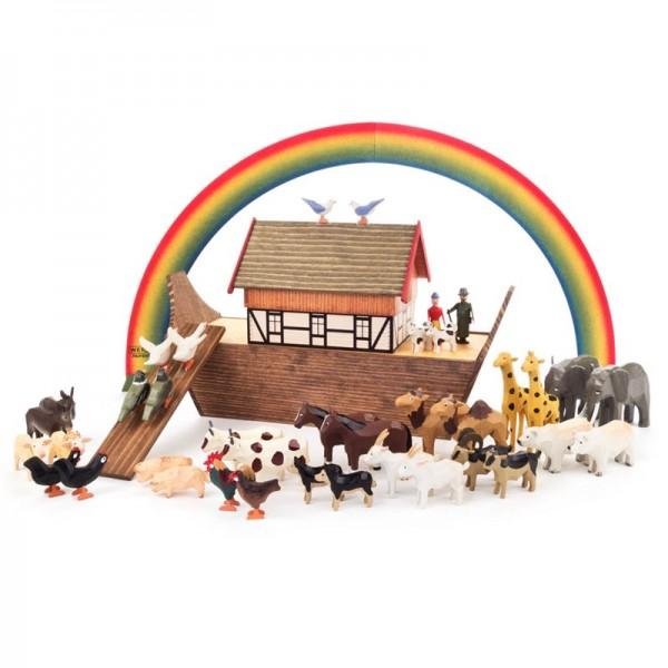 Dregeno Erzgebirge - Miniatur-Arche Noah mit 36 Tieren und 2 Figuren