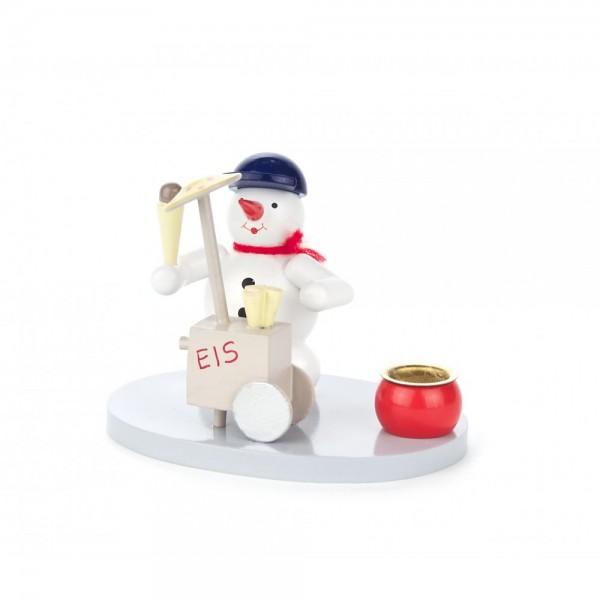 Dregeno Erzgebirge - Kerzenhalter mit Schneemann als Eisverkäufer - 7cm