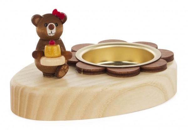 Dregeno Erzgebirge - Teelichthalter Teddy mit Kuchen