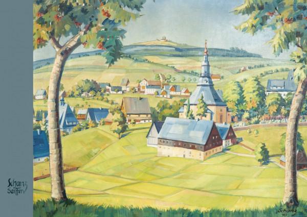 Dregeno Erzgebirge - Künstlerkarte Max Schanz »Farben des Gebirges«, Seiffener Dorf