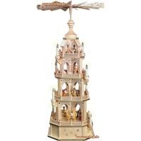 Restposten - Richard Glässer Gotische Pyramide Naturholz Christi Geburt 4-stöckig elektrisch 90cm