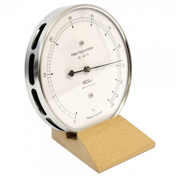 Fischer Präzis Haar-Hygrometer im Edelstahlgehäuse mit Holzfuss Buche