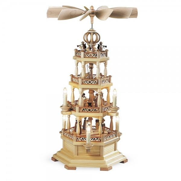 Müller Pyramide Heilige Geschichte 3-stöckig elektrisch mit Engel, natur 63cm