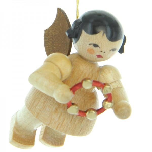 Uhlig Engel schwebend mit Schellenring, natur, handbemalt
