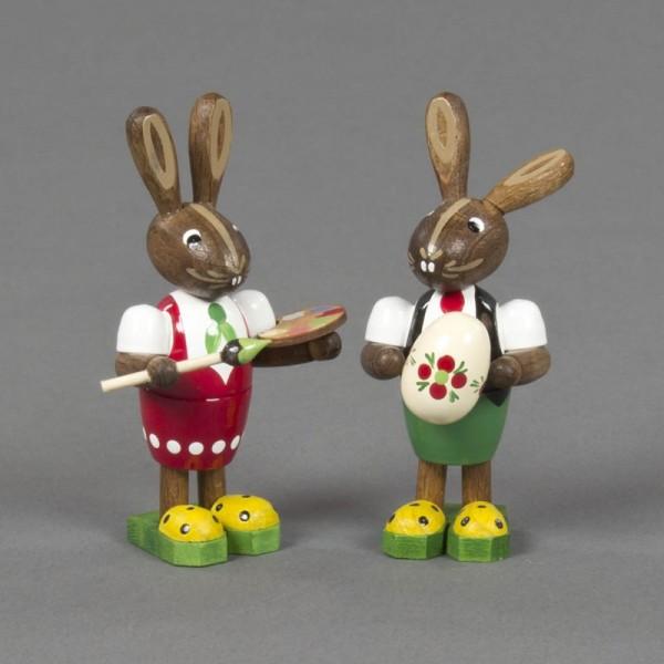 Dregeno Erzgebirge - Osterhasenpaar mit Farbpalette und Ei