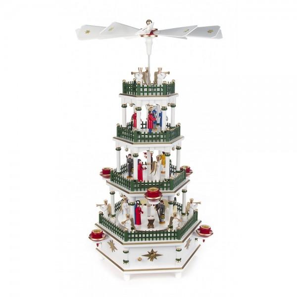 Dregeno Erzgebirge - Pyramide 4-stöckig mit Christi Geburt, farbig, mit Spielwerk - 52cm
