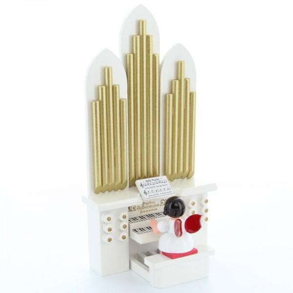 Uhlig Engel sitzend an der Orgel, rote Flügel, handbemalt