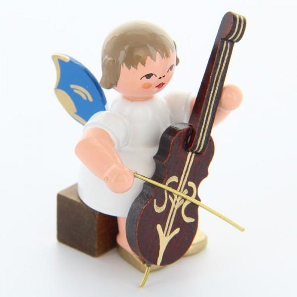 Uhlig Engel sitzend mit Cello, blaue Flügel, handbemalt