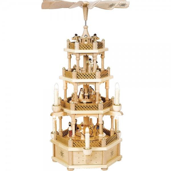 Richard Glässer Erzgebirgspyramide Christi Geburt 3-stöckig natur elektrisch 59cm