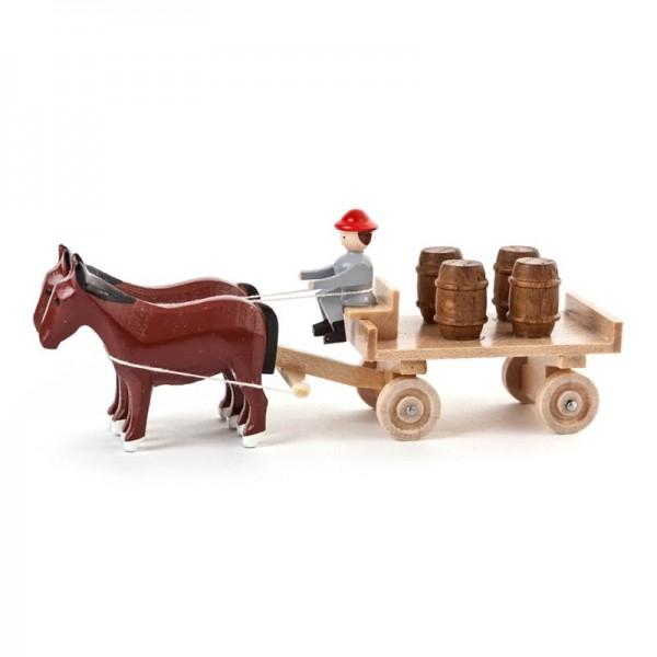 Dregeno Erzgebirge - Miniatur-Pferde mit Tafelwagen und Fässern