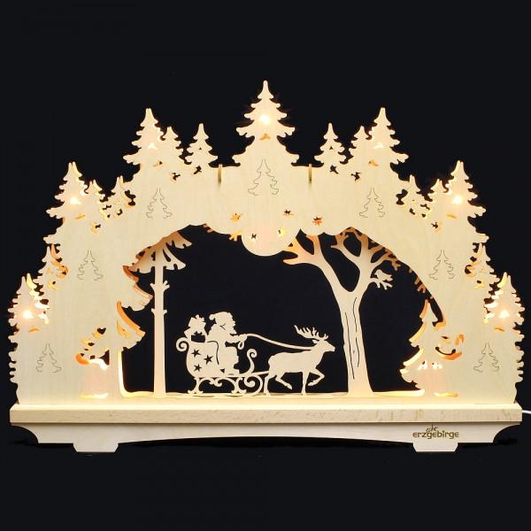 Lichterbogen aus Buchenholz, doppelt - Echt Erzgebirge - Motiv Weihnachtsmann im Schlitten