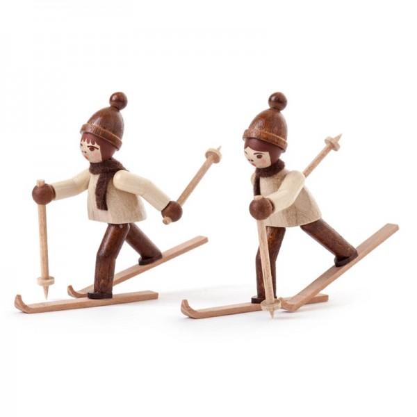 Dregeno Erzgebirge - Miniatur-Skilangläufer, natur, 2 Figuren