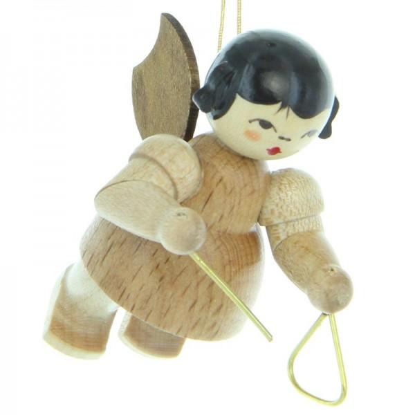 Uhlig Engel schwebend mit Triangel , natur, handbemalt