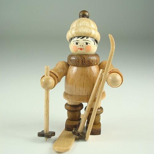 Lenk & Sohn Gedrechselte Holzfigur Erzgebirge Winterkinder Ski Junge stehend