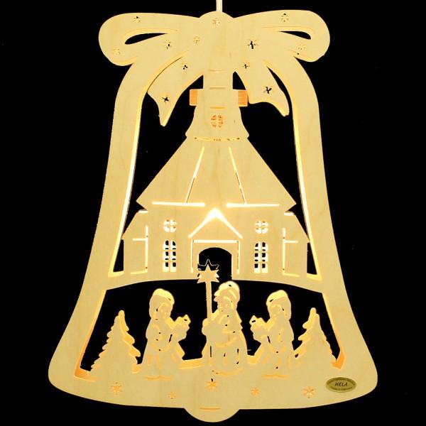 HELA Holzkunst - Fensterbild Glocke Seiffner Kirche