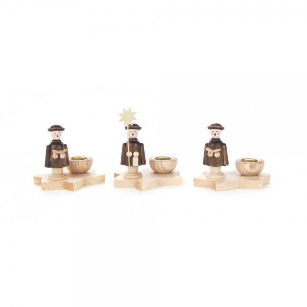 Dregeno Erzgebirge - Kerzenhalter mit Kurrendefigur im Set, 3 Stück natur - 7cm