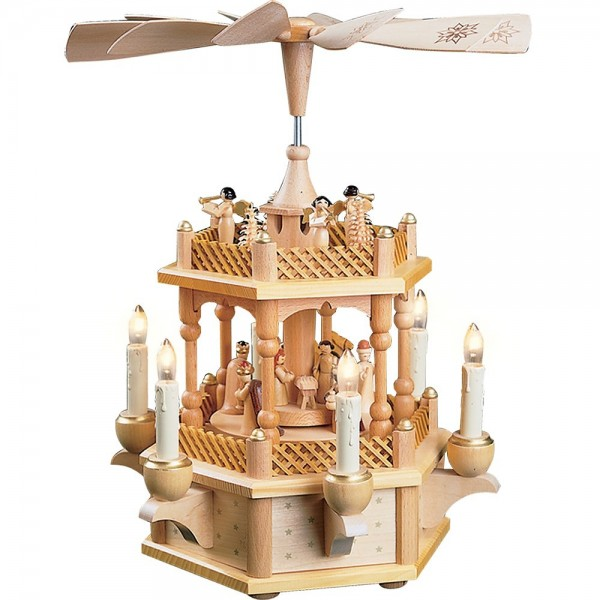 Richard Glässer Erzgebirgspyramide Christi Geburt natur 1-stöckig elektrisch 33cm