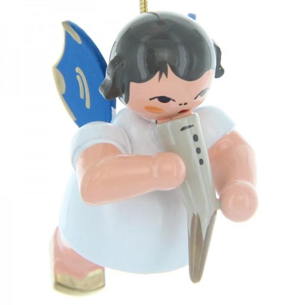 Uhlig Schwebeengel mit Gemshorn, blaue Flügel, handbemalt