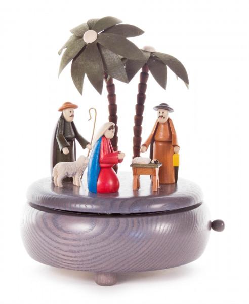 Dregeno Erzgebirge - Spieldose mit Christi Geburt grau, Melodie: Stille Nacht