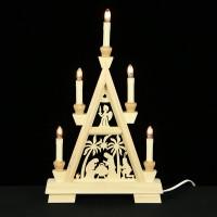 Holzkunst Niederle - Erzgebirgische Lichterspitze - Christliches Motiv - 2 Etagen
