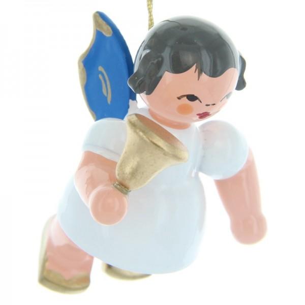 Uhlig Schwebeengel mit Glocke, blaue Flügel, handbemalt