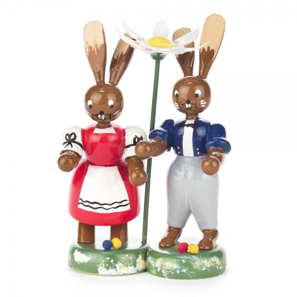 Dregeno Erzgebirge - Hasenpaar auf Sockel, farbig