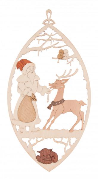 Dregeno Erzgebirge - Fensterbild Weihnachtsmann mit Rentier
