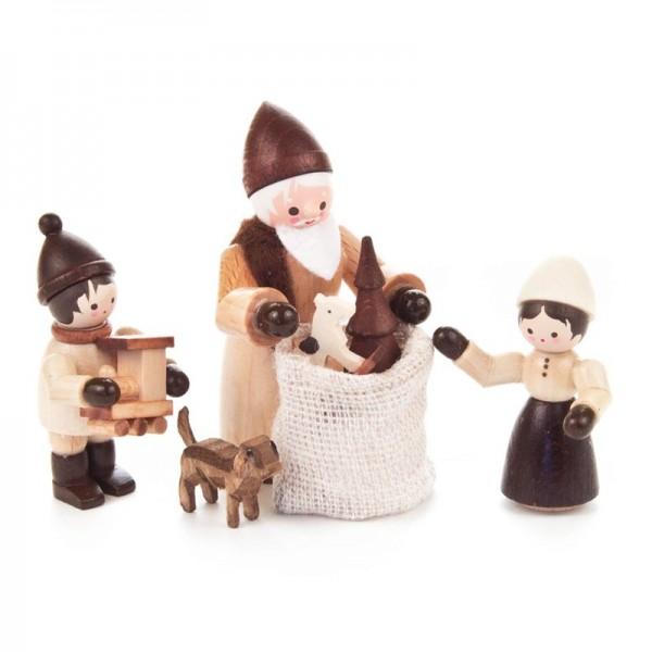 Dregeno Erzgebirge - Miniatur-Bescherung, 4 Figuren, natur