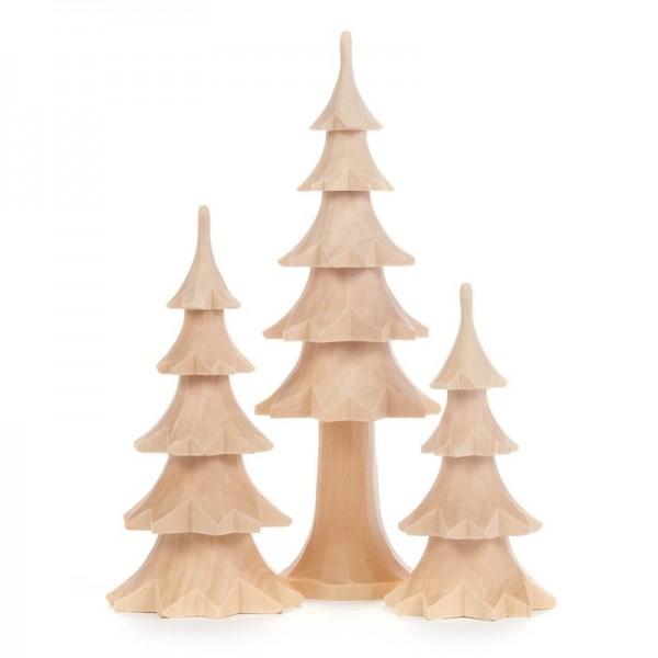 Dregeno Erzgebirge - Miniatur-Geschnitzte Bäume, natur, 3-teilig