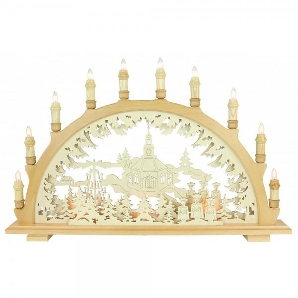 Lenk & Sohn Schwibbogen Erzgebirge 3-fach, 10-flammig Motiv Seiffener Kirche Innenbeleuchtung