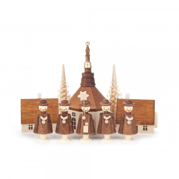 Dregeno Erzgebirge - Kurrende dunkelbraun, mit Kirche, Häuser und Bäumchen