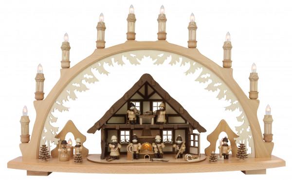 Lenk & Sohn - Schwibbogen 10 flammig Erzgebirgshaus beleuchtet Winterkinder