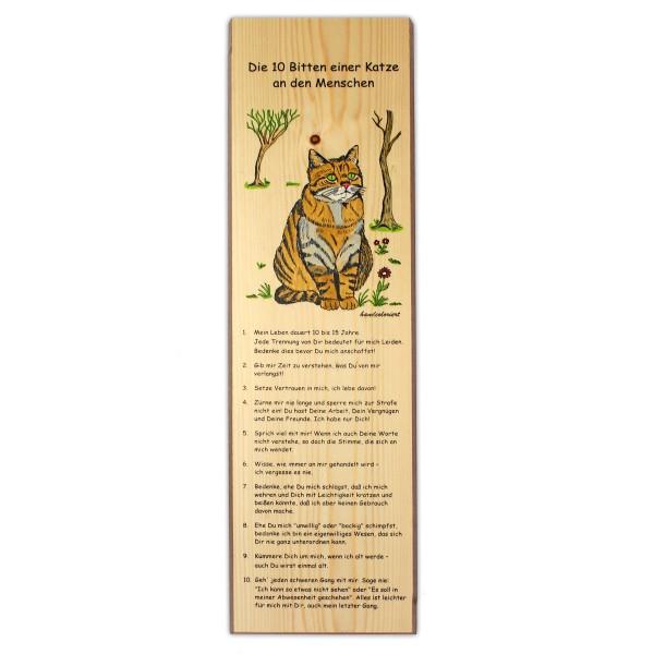 Holzbrett bedruckt zum Aufhängen 16x60cm - Die zehn Bitten einer Katze