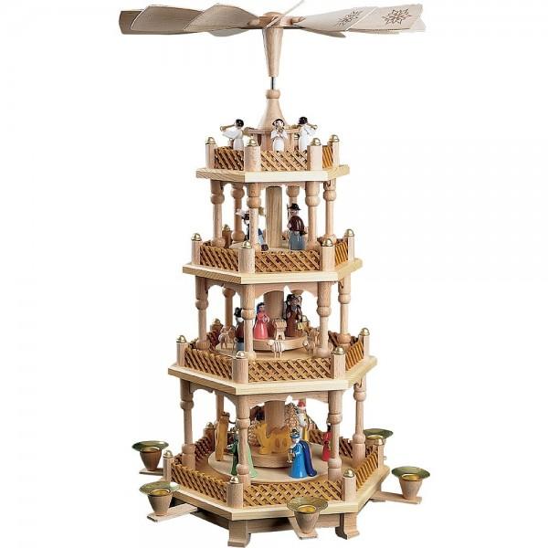 Richard Glässer Erzgebirgspyramide Christi Geburt 3-stöckig bunt 54cm