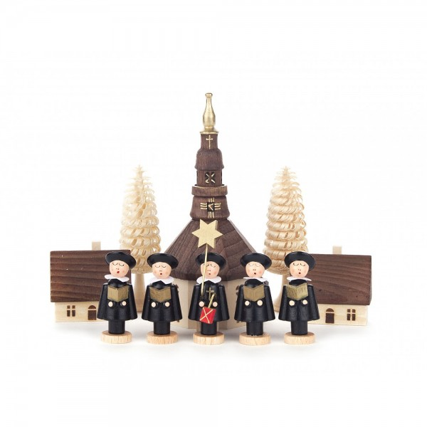 Dregeno Erzgebirge - Kurrende schwarz, mit Kirche, Häuser und Bäumchen