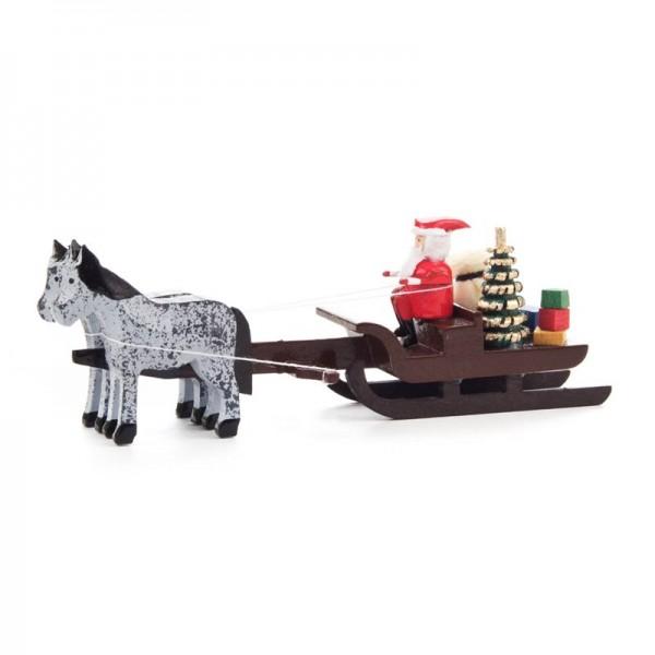 Dregeno Erzgebirge - Miniatur-Pferdeschlitten mit Weihnachtsmann