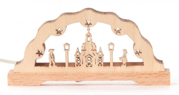 Dregeno Erzgebirge - Miniatur-Schwibbogen Frauenkirche mit LED Beleuchtung 12V