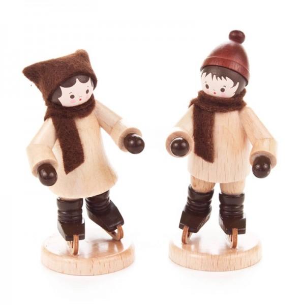 Dregeno Erzgebirge - Miniatur-Schlittschuhkinderpaar, natur