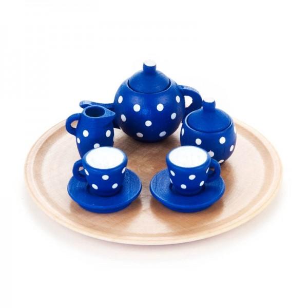 Dregeno Erzgebirge - Miniatur-Geschirrsets für Puppenstube Kaffeeservice rund, blau, 10-teilig
