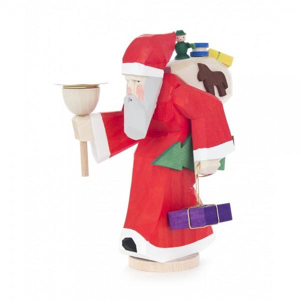 Dregeno Erzgebirge - Schnitzerei - Weihnachtsmann mit Lichtertülle - 12,5cm