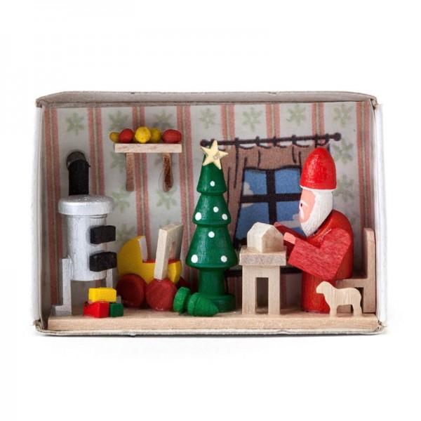 Dregeno Erzgebirge - Miniatur-Zündholzschachtel Weihnachtsmannwerkstatt