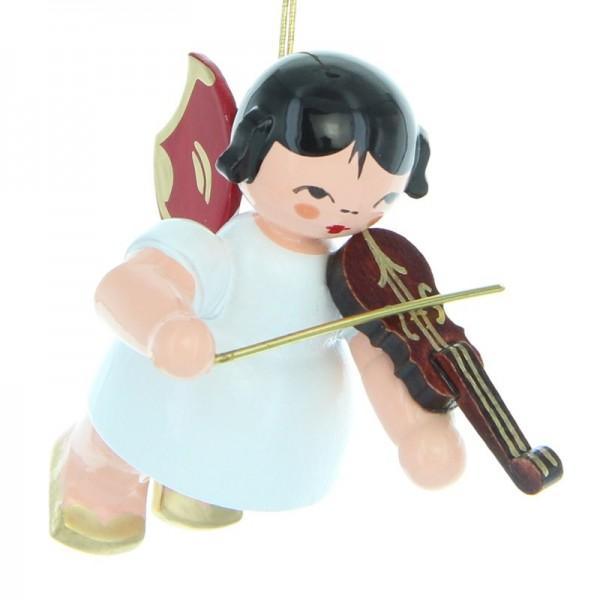 Uhlig Engel schwebend mit Violine, rote Flügel, handbemalt