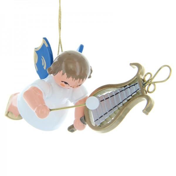Uhlig Schwebeengel mit Glockenspiel, blaue Flügel, handbemalt