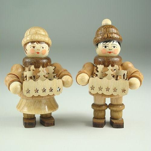 Lenk & Sohn Gedrechselte Holzfigur Erzgebirge Striezelkinder Junge und Mädchen
