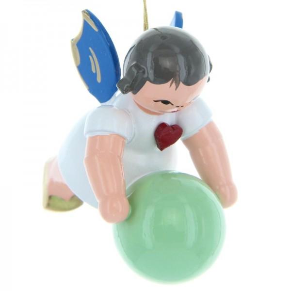 Uhlig Schwebeengel mit Gymnastikball, blaue Flügel, handbemalt