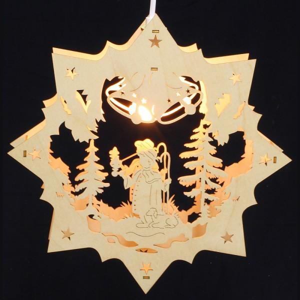 Fensterbild Erzgebirge beleuchtet - Motiv Räuchermann - 27cm
