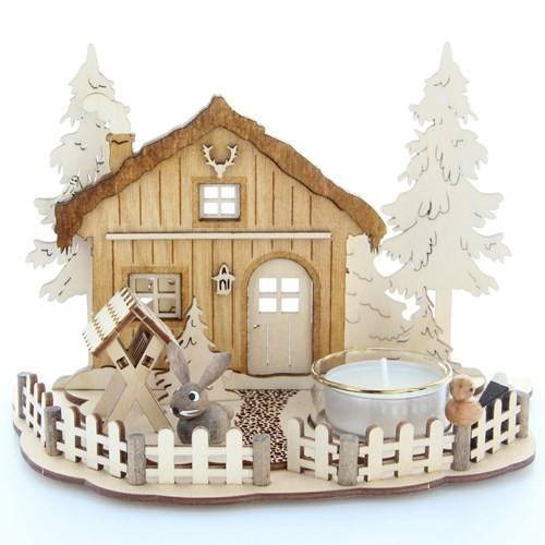 HELA Holzkunst - Teelichthalter Weihnachtsszene - Forsthaus und Krippe, graviert