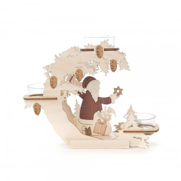 Dregeno Erzgebirge - Teelichtkranz 15cm - Motiv Weihnachtsmann