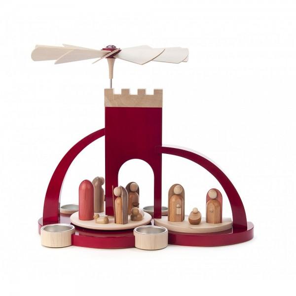 Dregeno Erzgebirge - Pyramide Torbogen rot mit Christi Geburt, moderne Figuren - 33cm